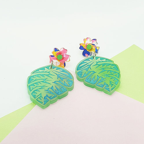 'Mighty Monstera' Midi Frosted Dangles