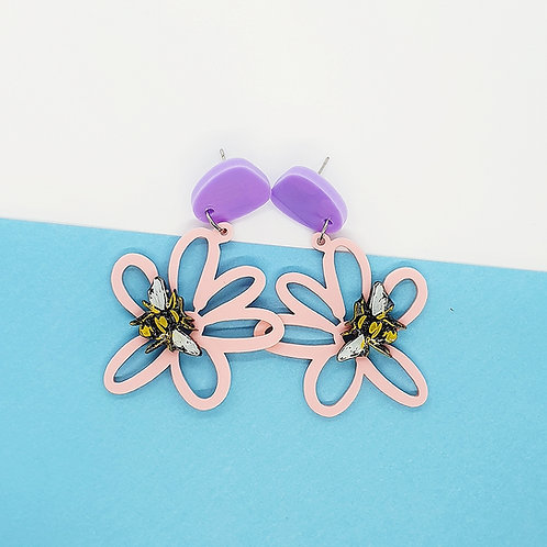 Blush Pink 'Busy Bee Daisy Days' Dangles