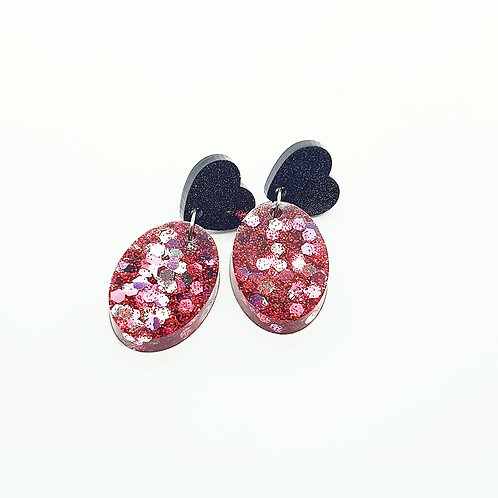 Pink Oval Glitter Dangles