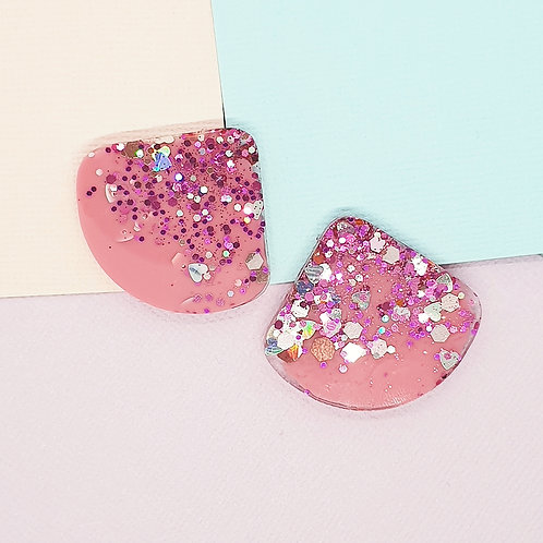 Fairy Floss Valentine Wedge Statement Studs #1