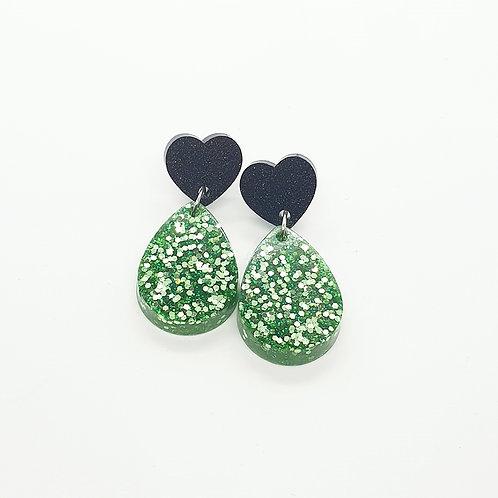 Green Tear Drop Glitter Dangles