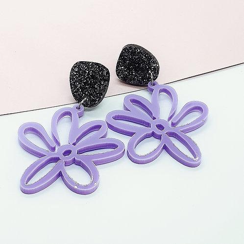 Pastel Purple 'Daisy Days' Dangles