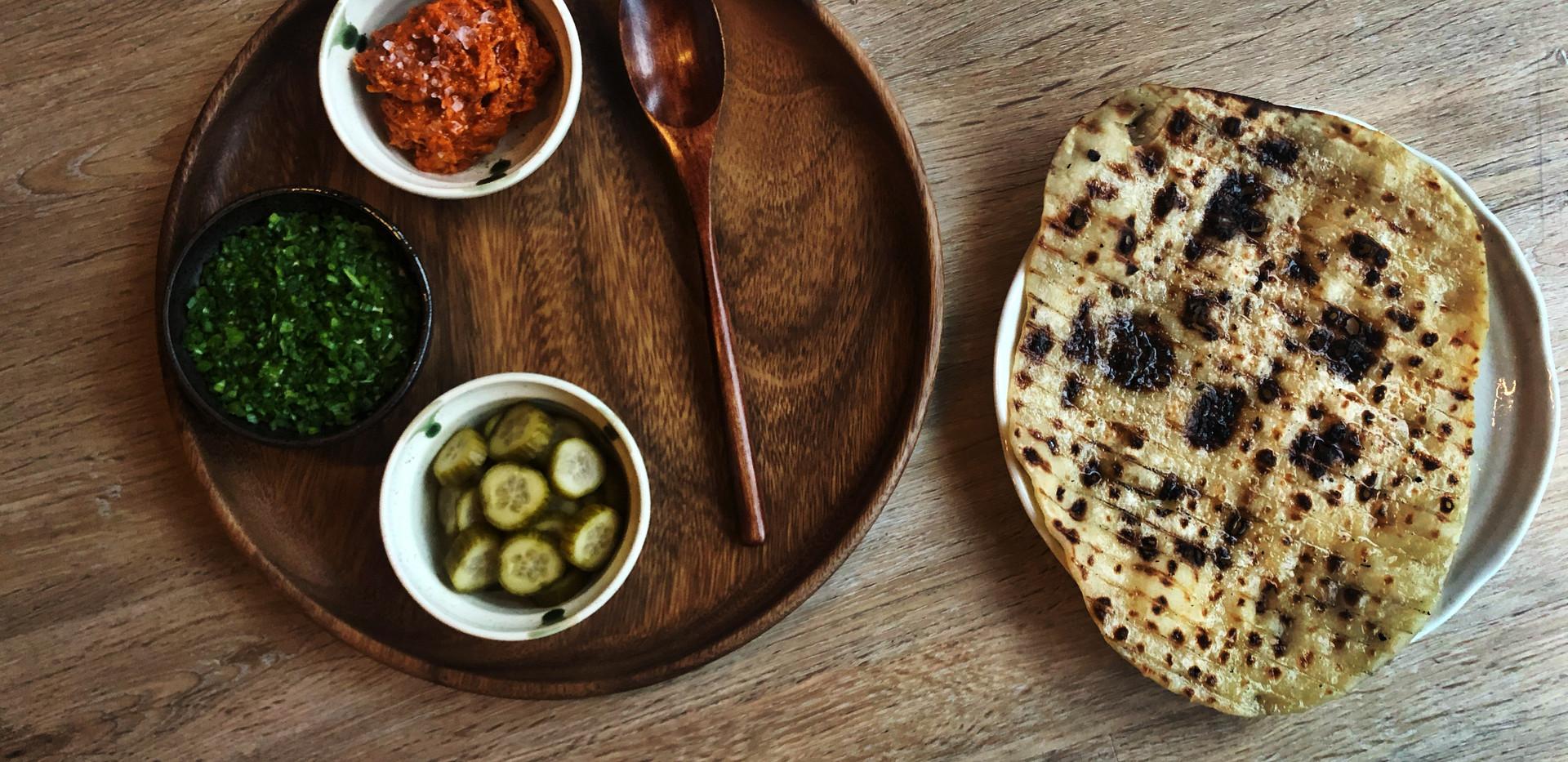 Grilled Flat Bread - Nduja - Cultured Cream