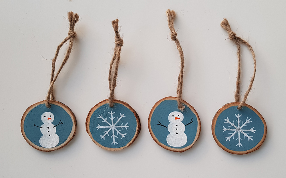 wood slices xmas decorations