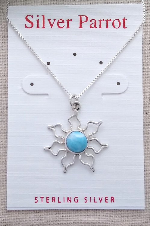 Larimar and Sterling Silver Sun Pendant