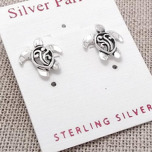 Sterling Silver Sea Turtle Studs