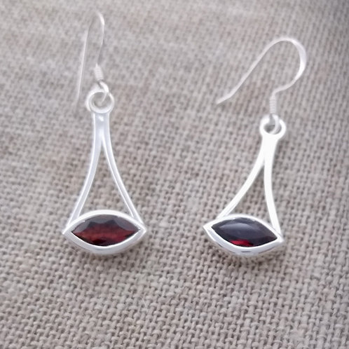 Sterling and Garnet Modern Earrings