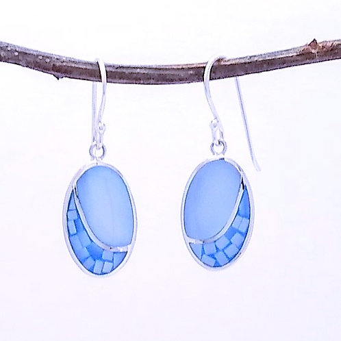 Sterling Silver Earrings Inlaid With Blue Mother Of Pearl