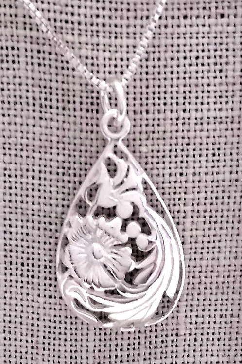 Sterling Silver Floral Cut Out Pendant