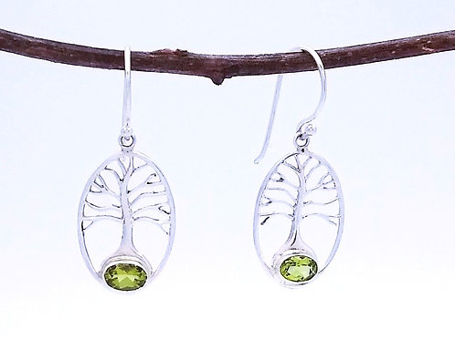 Sterling Silver Tree of Life Earrings. 4 Available Stones