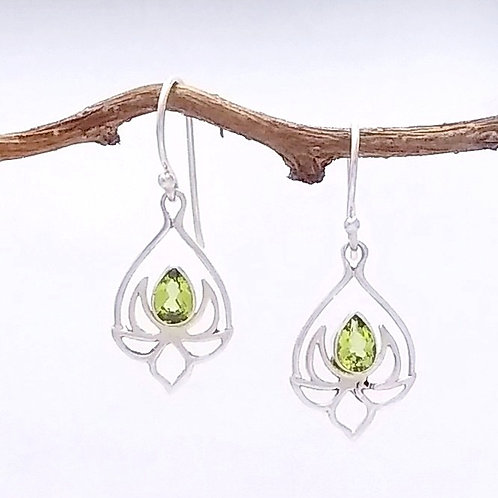 Sterling Lotus With Peridot Earring