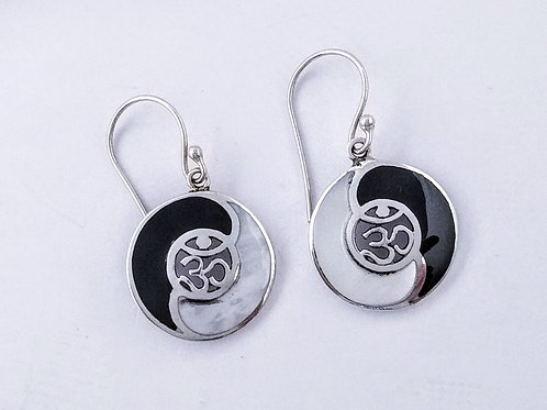 Inlaid Sterling Yin Yang Earrings