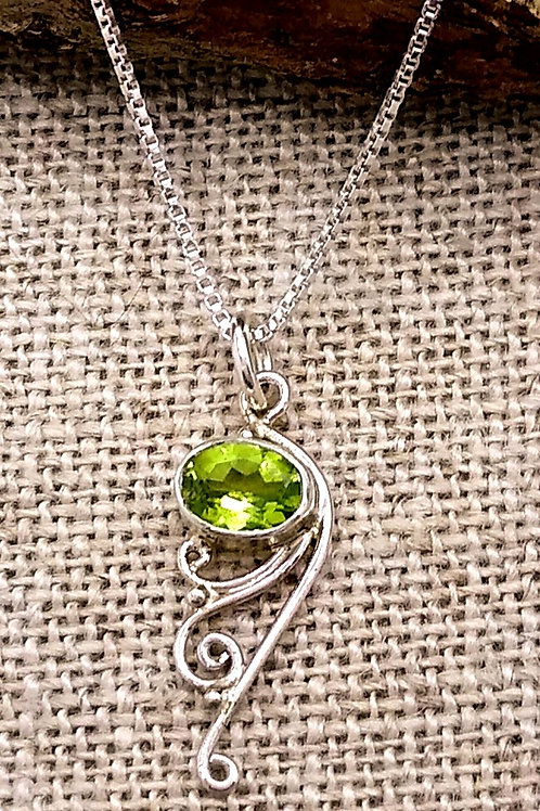 Sterling Silver Pendant With Peridot And Wire Detail