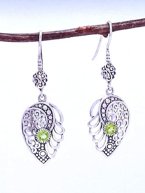 Sterling Silver Earrings With Peridot
