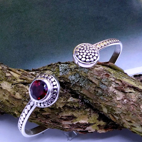 Sterling Silver And Garnet Cuff