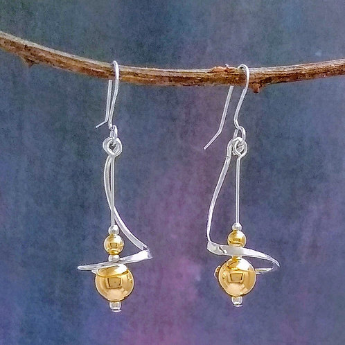 Sterling And Gold Filled Ball And Wire Earrings.