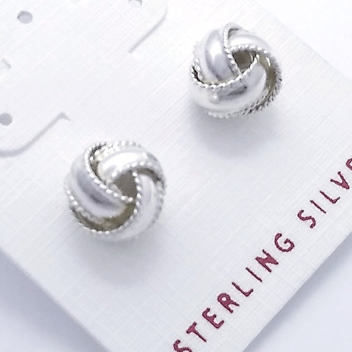 Sterling Silver Ribbon Knot Studs