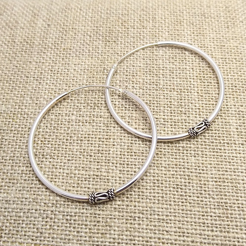 Classic Bali Hoops in Sterling Silver.