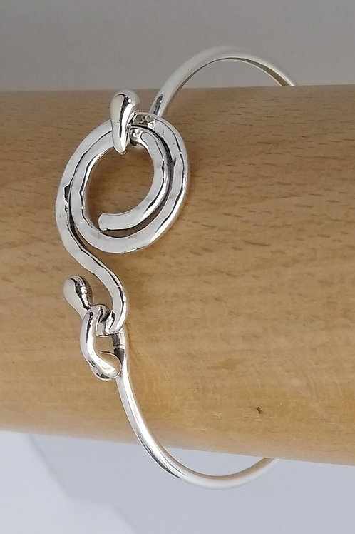 Sterling Silver Bracelet With Hammered Clasp
