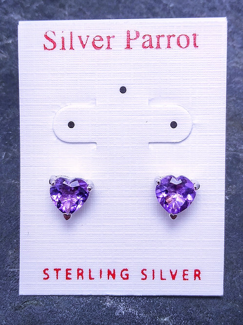 Sterling and Amethyst Heart Studs