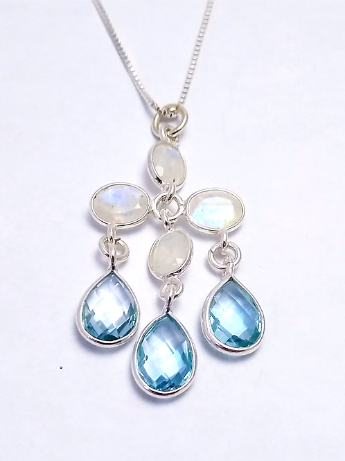 Blue Topaz and Faceted Rainbow Moonstone Pendant