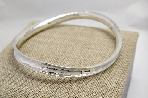 Sterling Silver Wavy, Concave, Hammered Bangle
