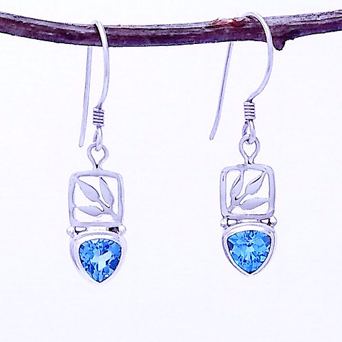 Blue Topaz in a Sterling Silver With Leaf Detail.