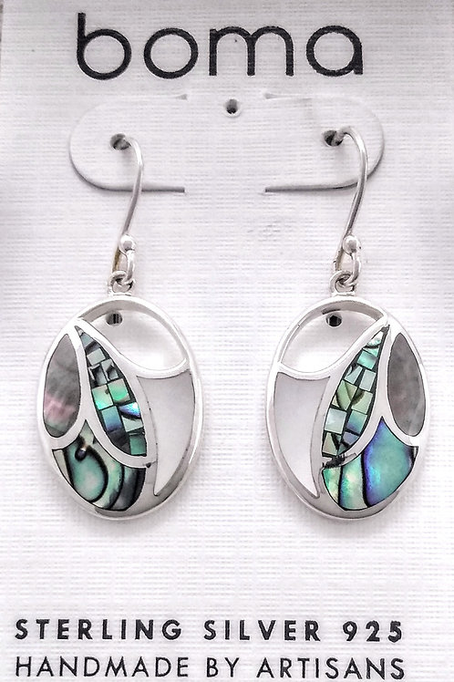 BOMA Sterling Silver Multi-Stone Inlaid Earring