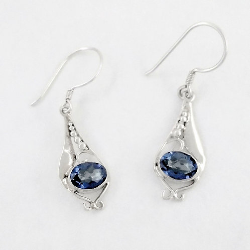 Sterling Silver Earrings With Blue Quartz