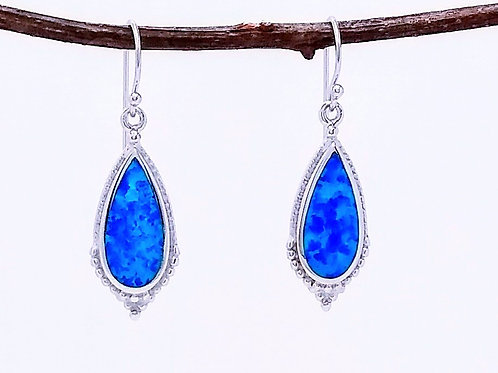 Sterling Silver Earrings With Blue Simulated Opal