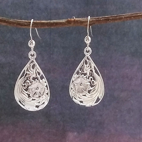 Sterling Silver Floral Cut Out Earrings