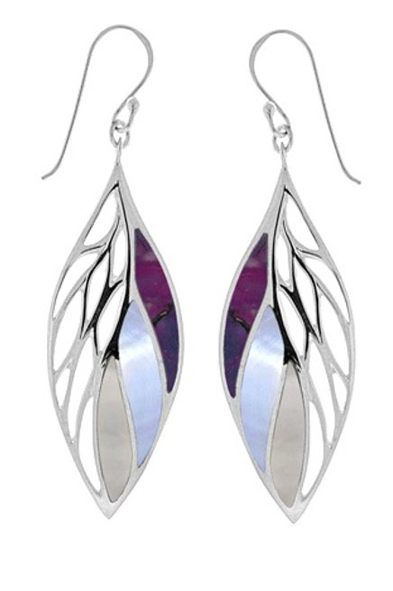 boma Sterling Silver Long  Inlaid Earring