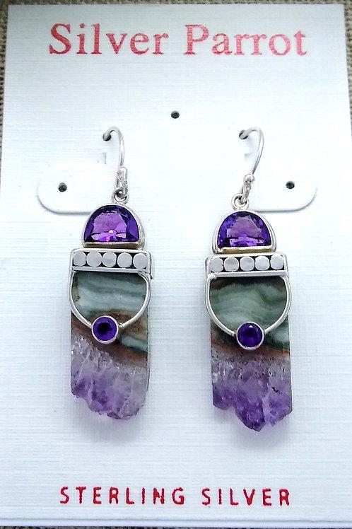 Sterling Amethyst Geode Earrings