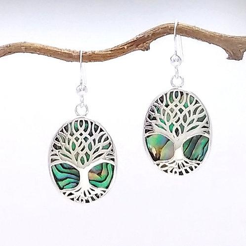 Sterling Tree of Life Abalone Earrings