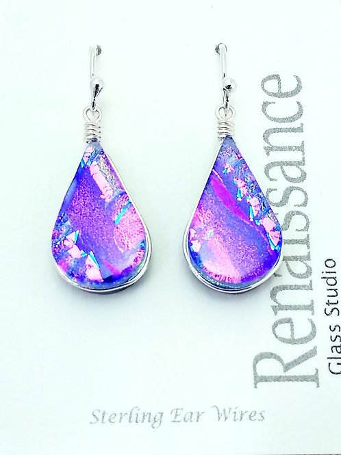 Handmade Pink and Purple Dichroic Glass