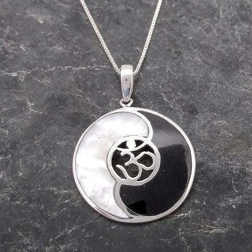 Sterling Inlayed Yin Yang Pendant