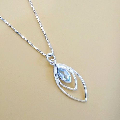 Sterling Silver With Blue Topaz Pendant