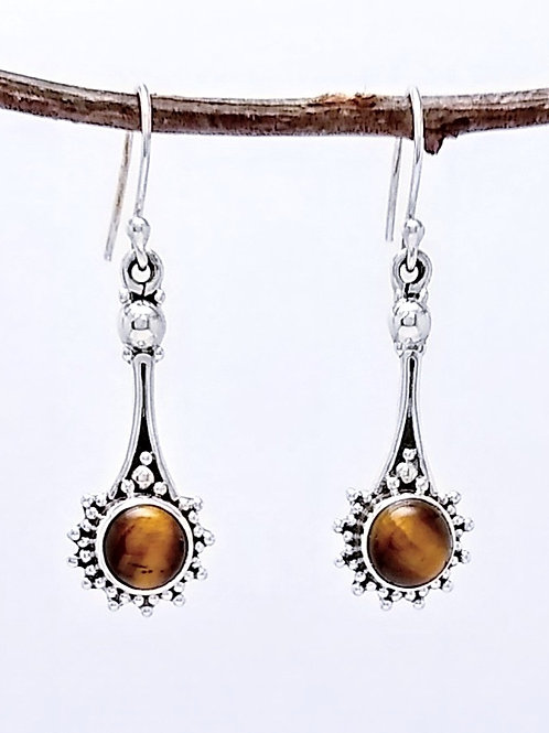 Sterling Silver Earrings With Tiger Eye