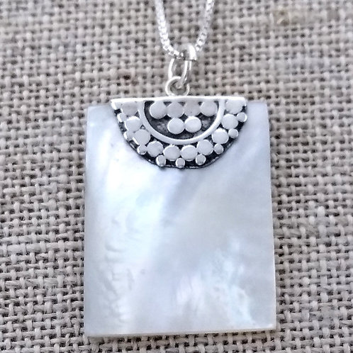 Mother of Pearl in Sterling Pendant.