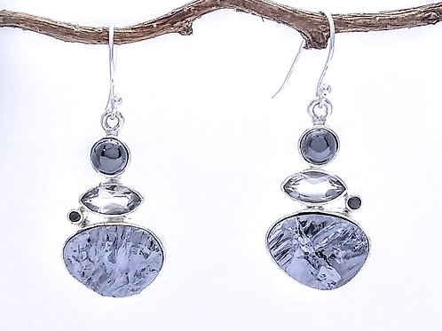 Shades of Gray Sterling Silver Earring