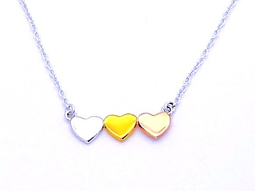 boma Sterling and Gold Filled 3 Hearts Necklace