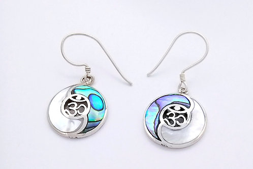 Silver Yin Yang Earrings With Shell