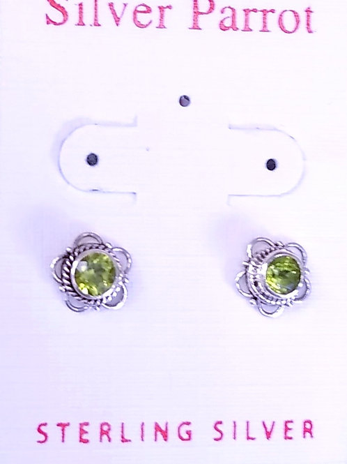 Detailed Sterling Silver And Peridot Stud