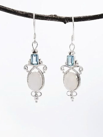 Sterling Silver Earring With Mother of Pearl and Blue Topaz