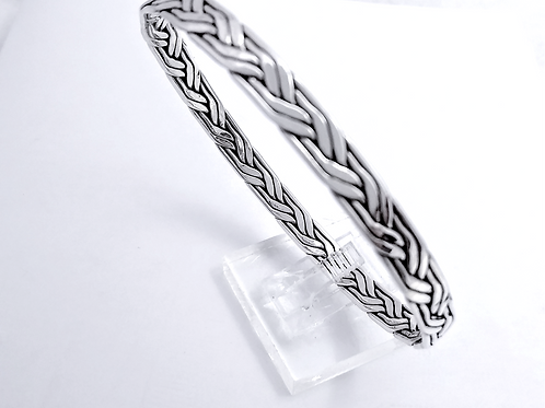 Sterling Silver 4 Strand Woven Bangle