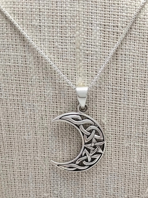 Sterling Silver Cut Out Celtic Moon