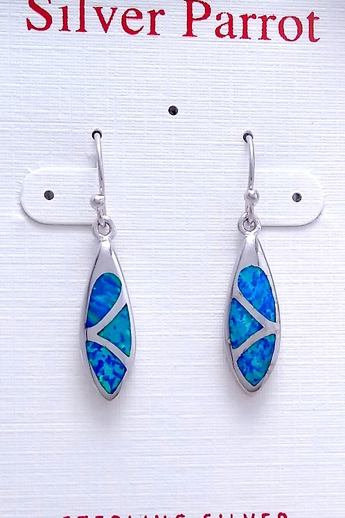 Blue Opal and Sterling Inlay Earring