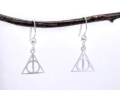 Sterling Silver Deathly Hallows Earring
