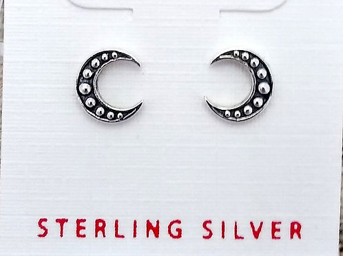 Tiny Sterling Silver Bali Moon Studs
