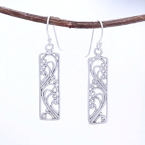 Sterling Silver Wires In A Frame Earrings